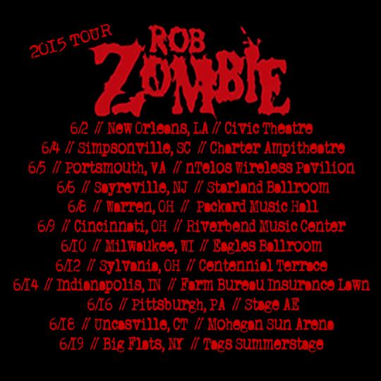 Rob zombie tour dates in Brisbane