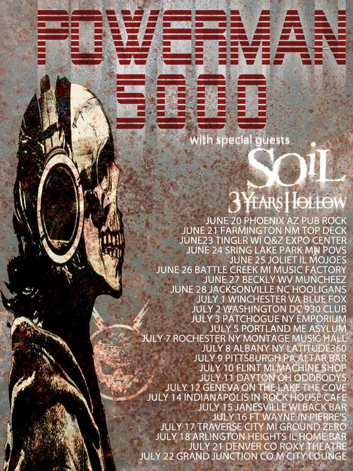 powerman 5000 announce summer 2015 tour with soil 3 ForSoil Tour Dates 2015