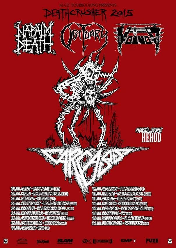 carcass announce 2015 european uk tour with obituary napalm death