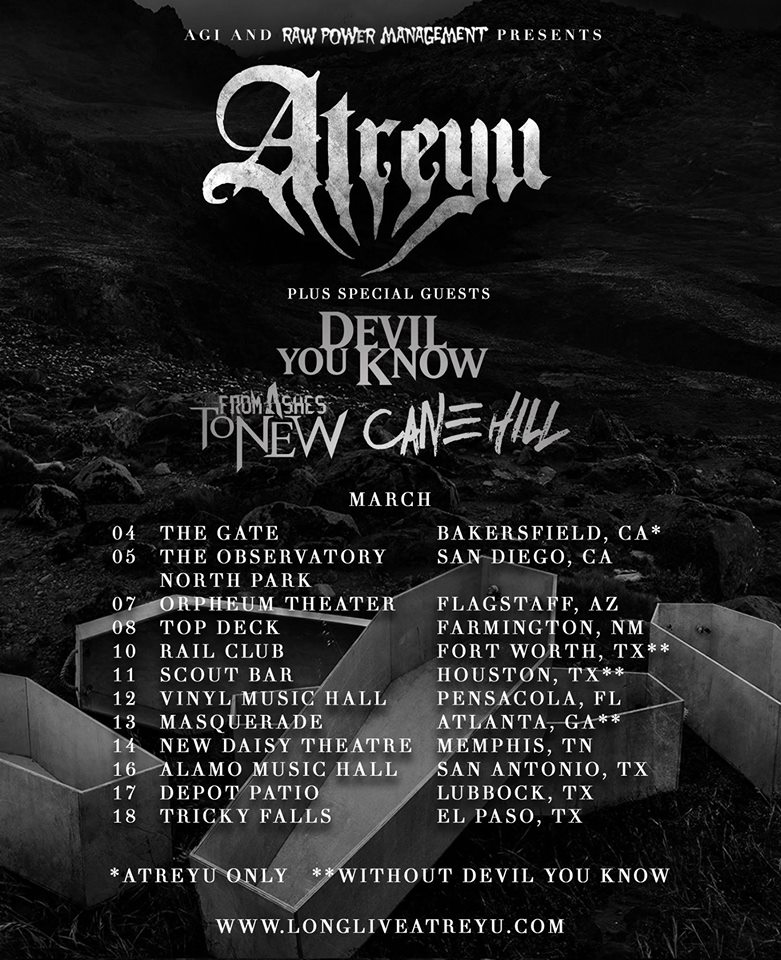 Top Deck Farmington: Atreyu Announce 2016 Tour With Devil You Know, From Ashes