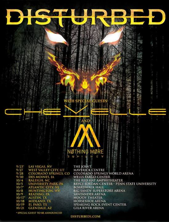 disturbed announce 2016 tour with chevelle nothing more metal anarchy. Black Bedroom Furniture Sets. Home Design Ideas