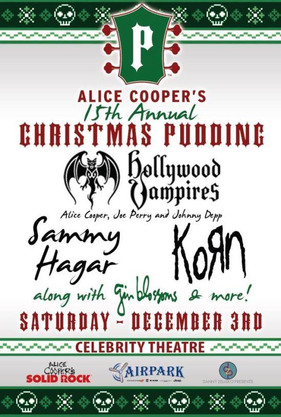 Joe Perry Alice Cooper Christmas Pudding 2021 Korn Hollywood Vampires Sammy Hagar Etc Set For Alice Cooper S Christmas Pudding Metal Anarchy