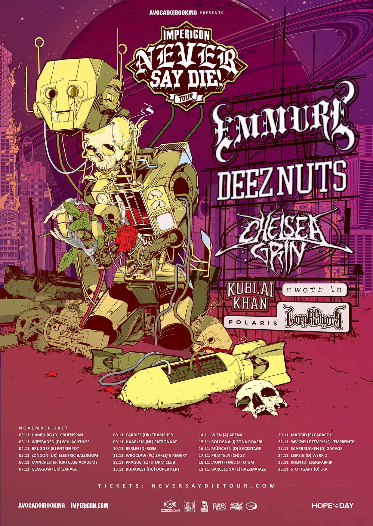 Emmure To Headline The 2017 Never Say Die! Tour With Deez
