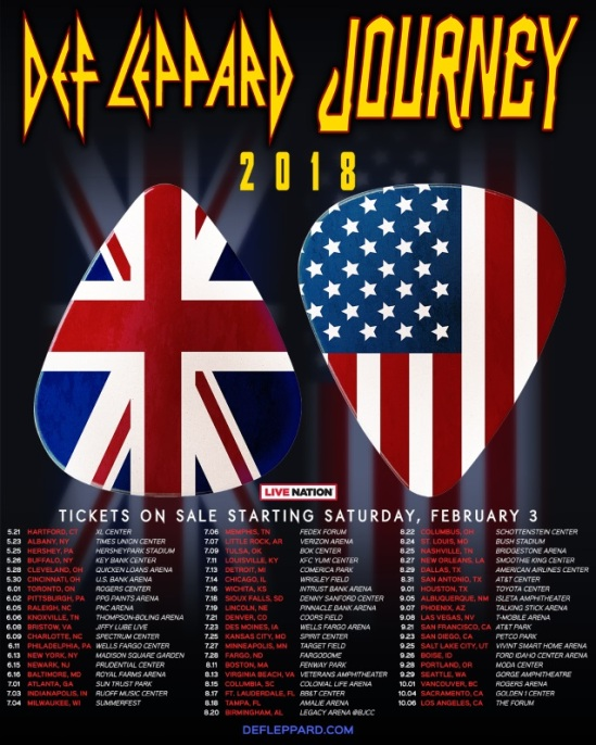440dd9927e0 Def Leppard and Journey have officially announced their 2018 co-headlining  tour. You can see the dates for that below.