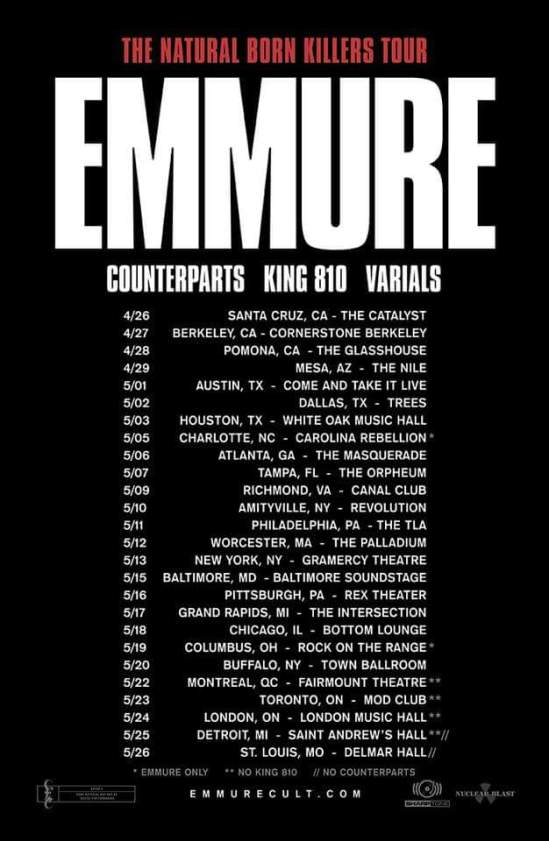 Counterparts King 810 Varials Added To Emmures Spring 2018 Tour