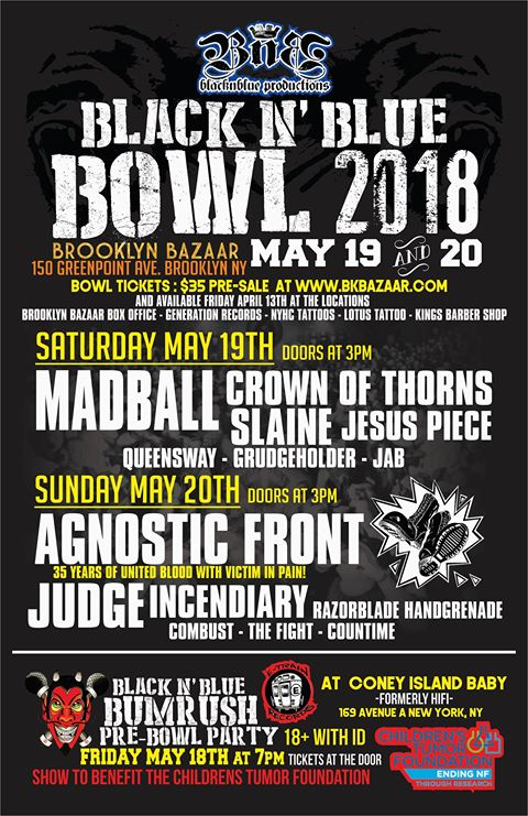 Madball, Agnostic Front, Etc  Booked For 2018 Black N' Blue Bowl