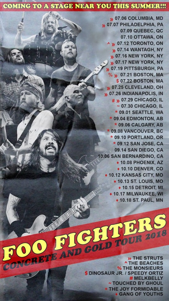 Foo fighters reveal opening acts for 2018 north american - Foo fighters madison square garden ...