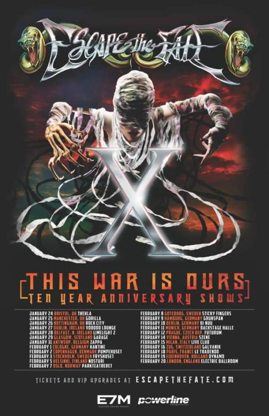 Escape The Fate Announce European Uk This War Is Ours 10th Anniversary Tour Metal Anarchy