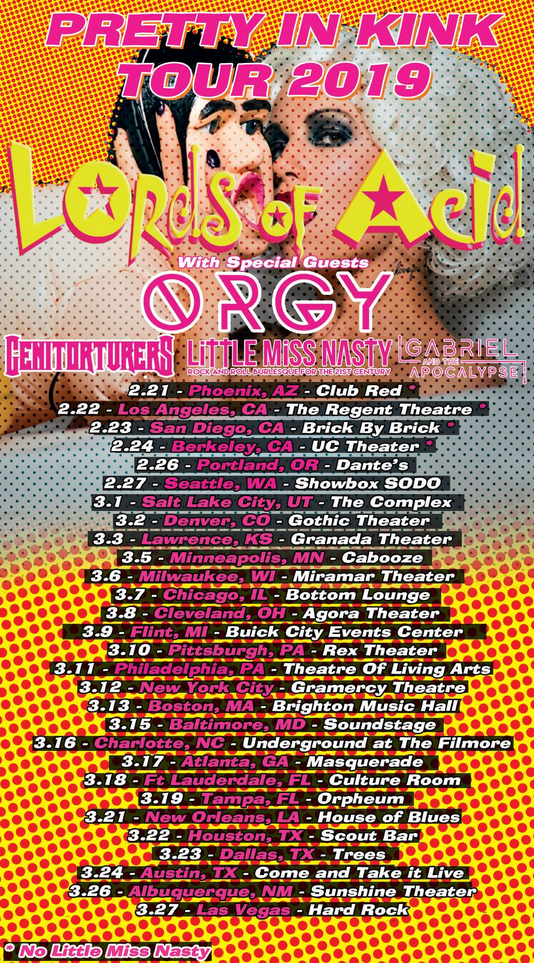 Lords Of Acid Orgy Genitorturers Little Miss Nasty Amp Gabriel And The Apocalypse Announce U S