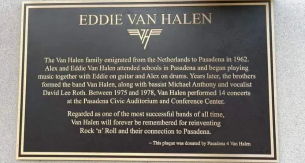 Eddie Van Halen Memorial Plaque Unveiled In Pasadena, CA   Metal Anarchy